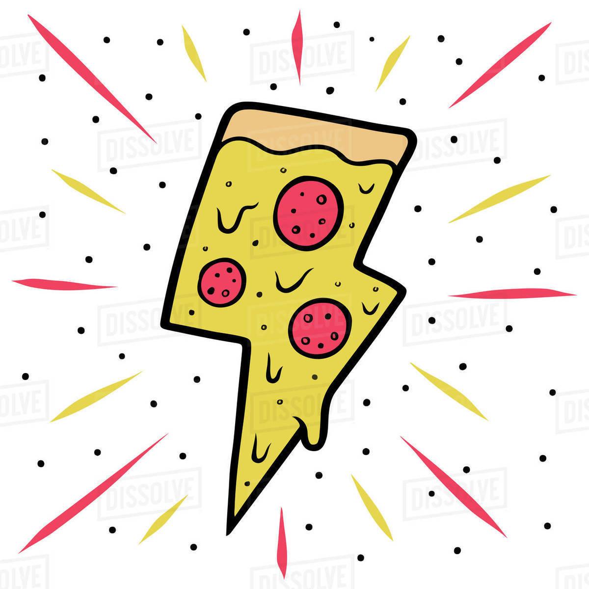Illustration of sparkling pizza slice isolated on white background Royalty-free stock photo