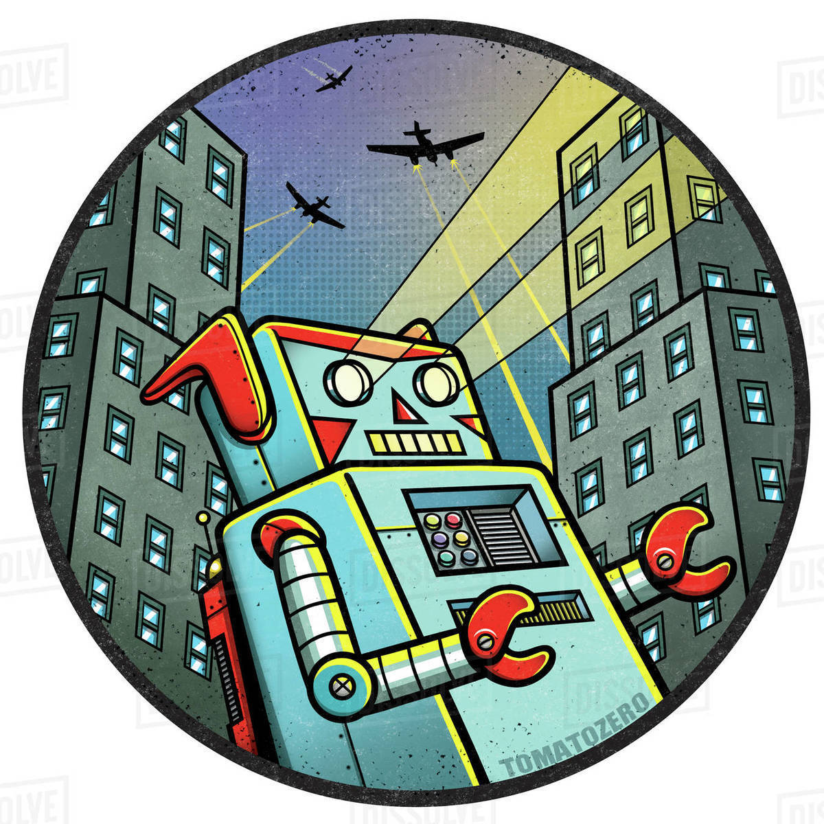 Cartoon illustration of robot destroying city against white background Royalty-free stock photo