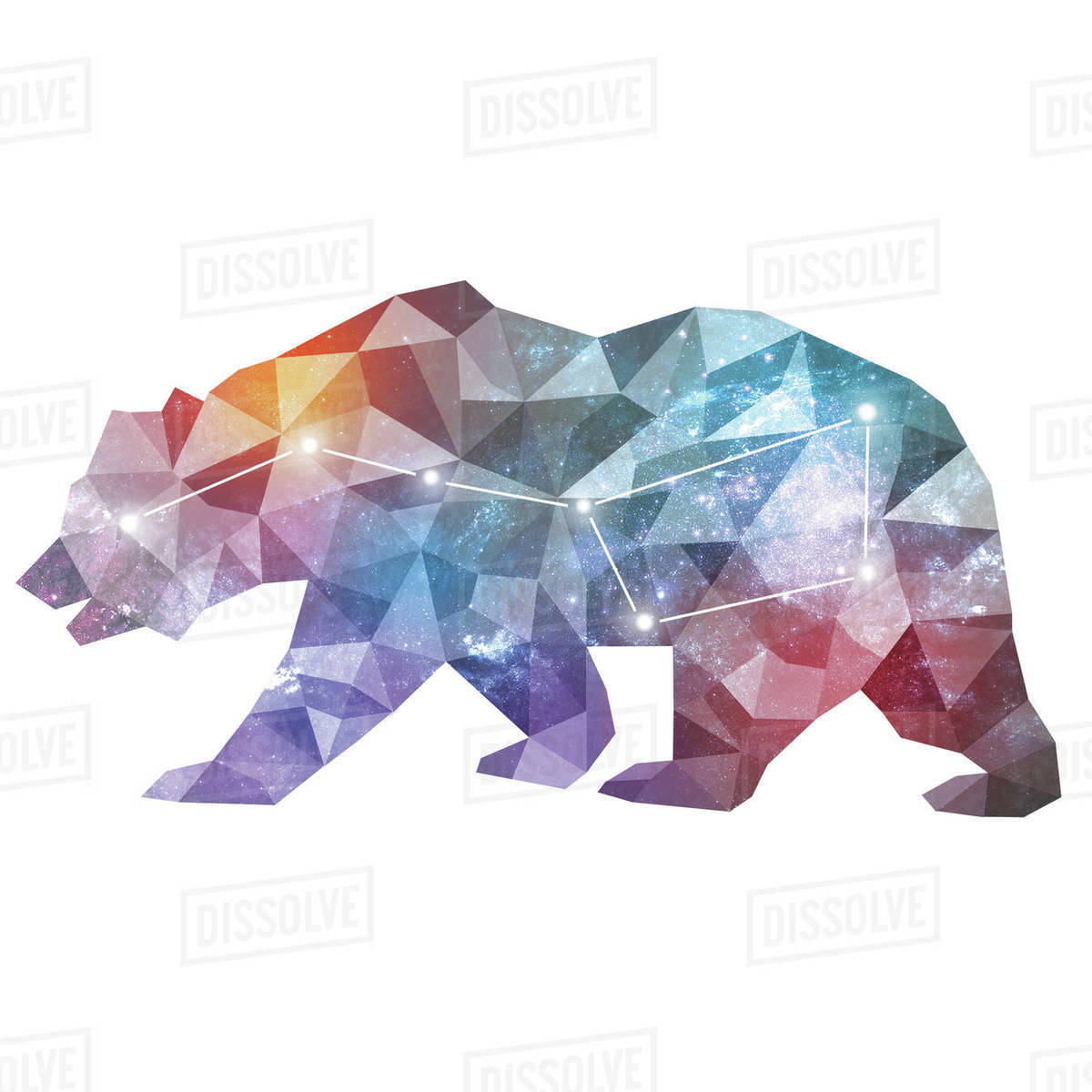 Illustration of constellation of great bear against white background Royalty-free stock photo