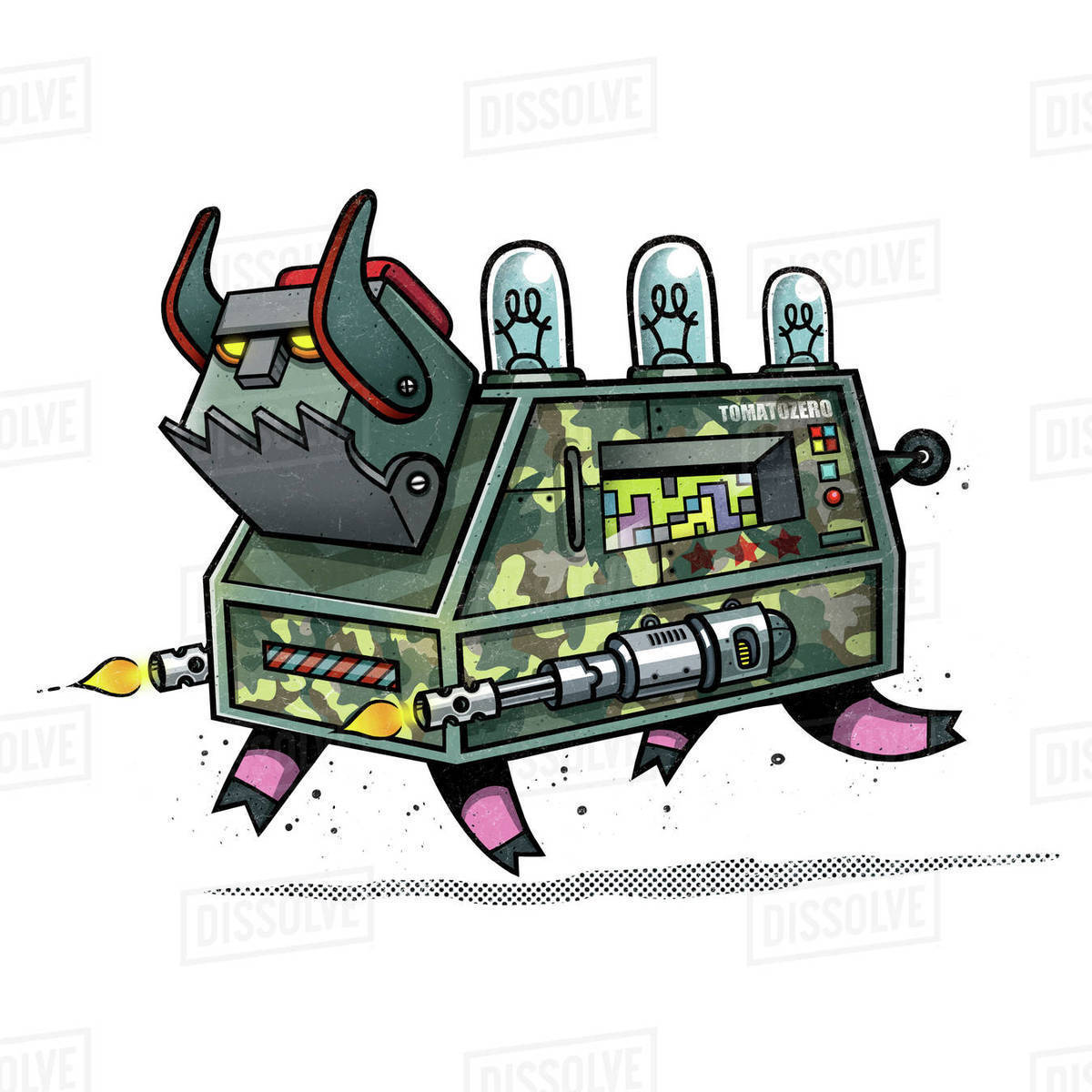 Illustration of robot pig isolated on white background Royalty-free stock photo