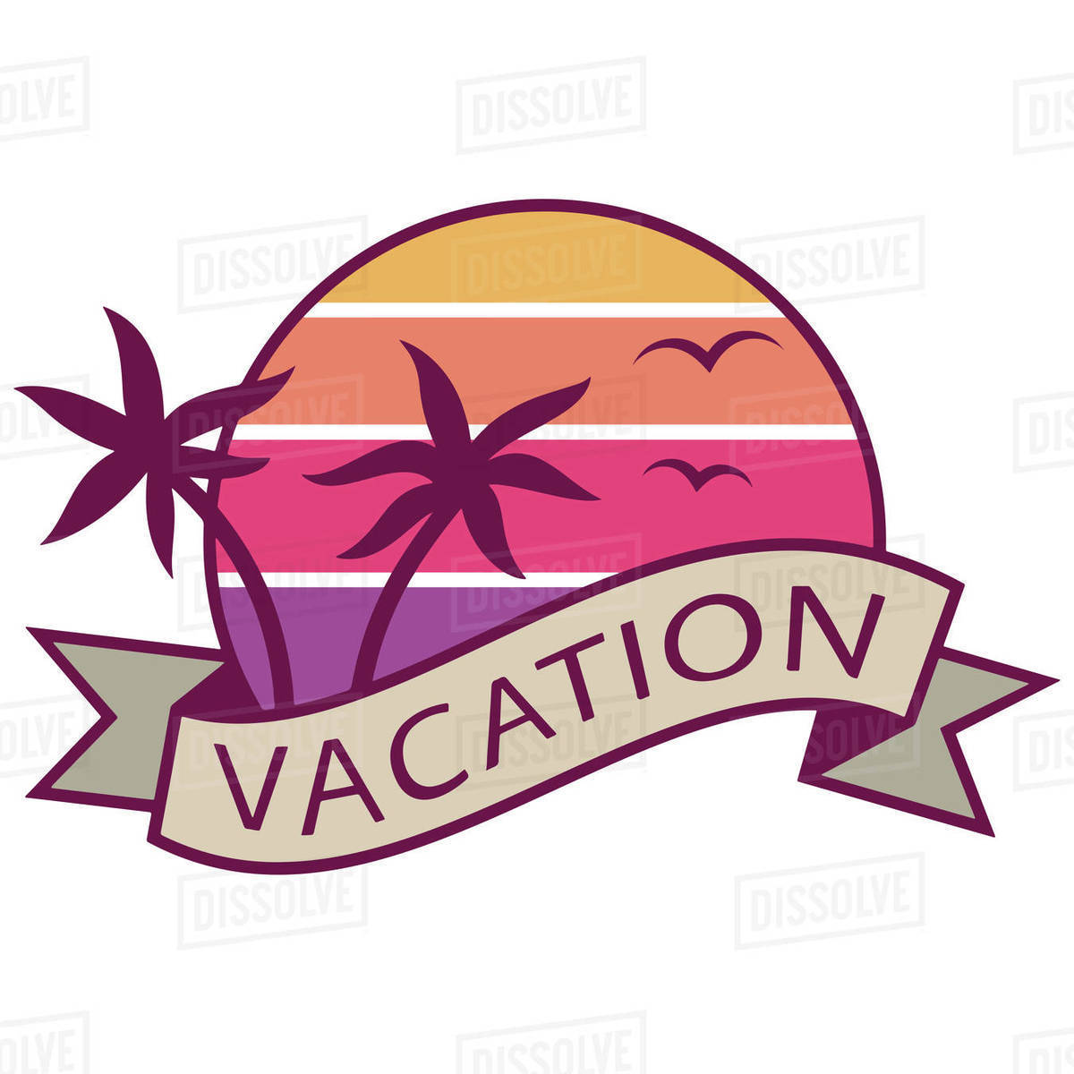 Illustration of vacation logo isolated on white background Royalty-free stock photo