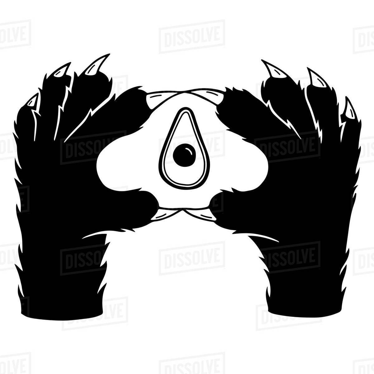 Illustration of a cat's paws gesturing against white background Royalty-free stock photo