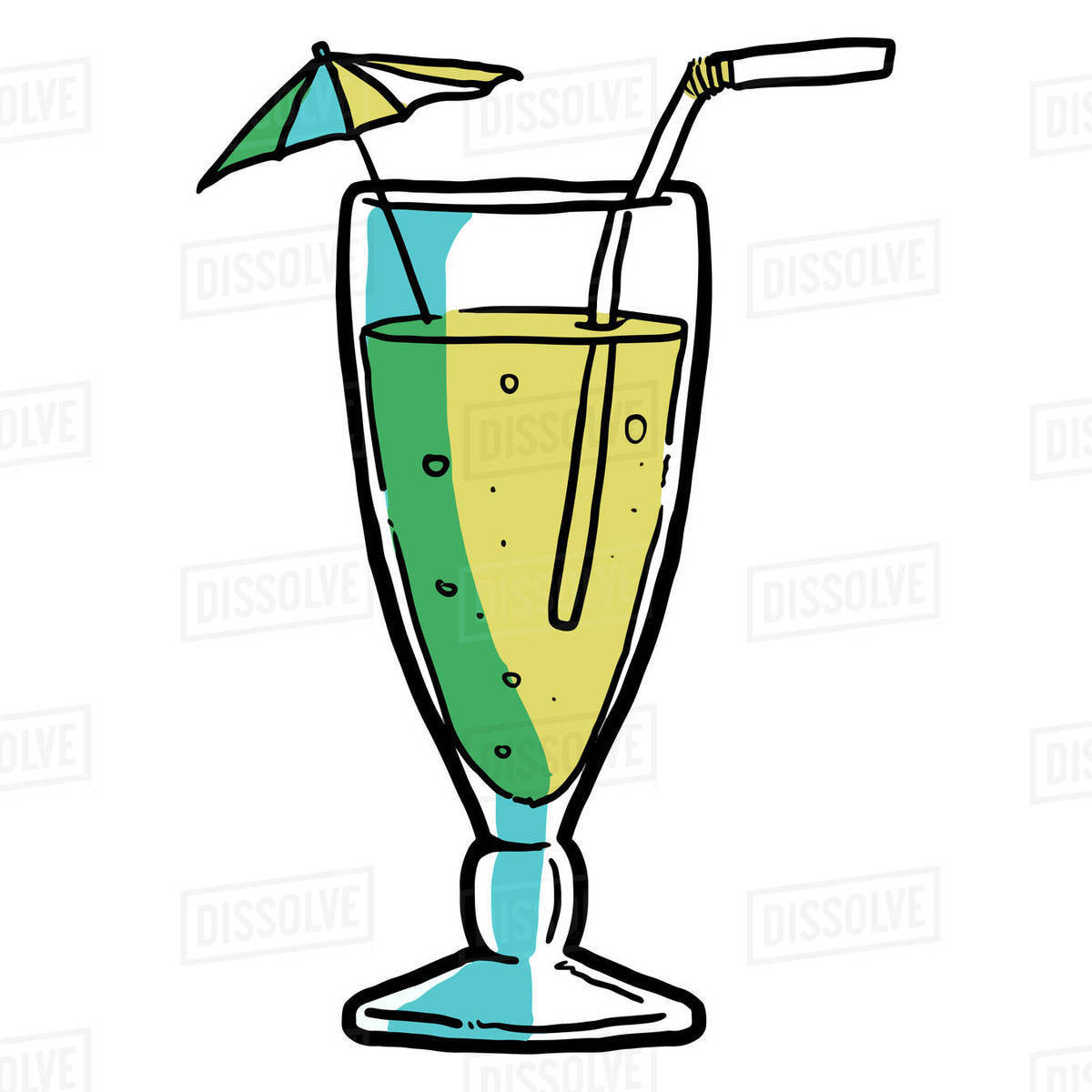 Illustration of cocktail glass with drinking straw and cocktail umbrella isolated on white background Royalty-free stock photo