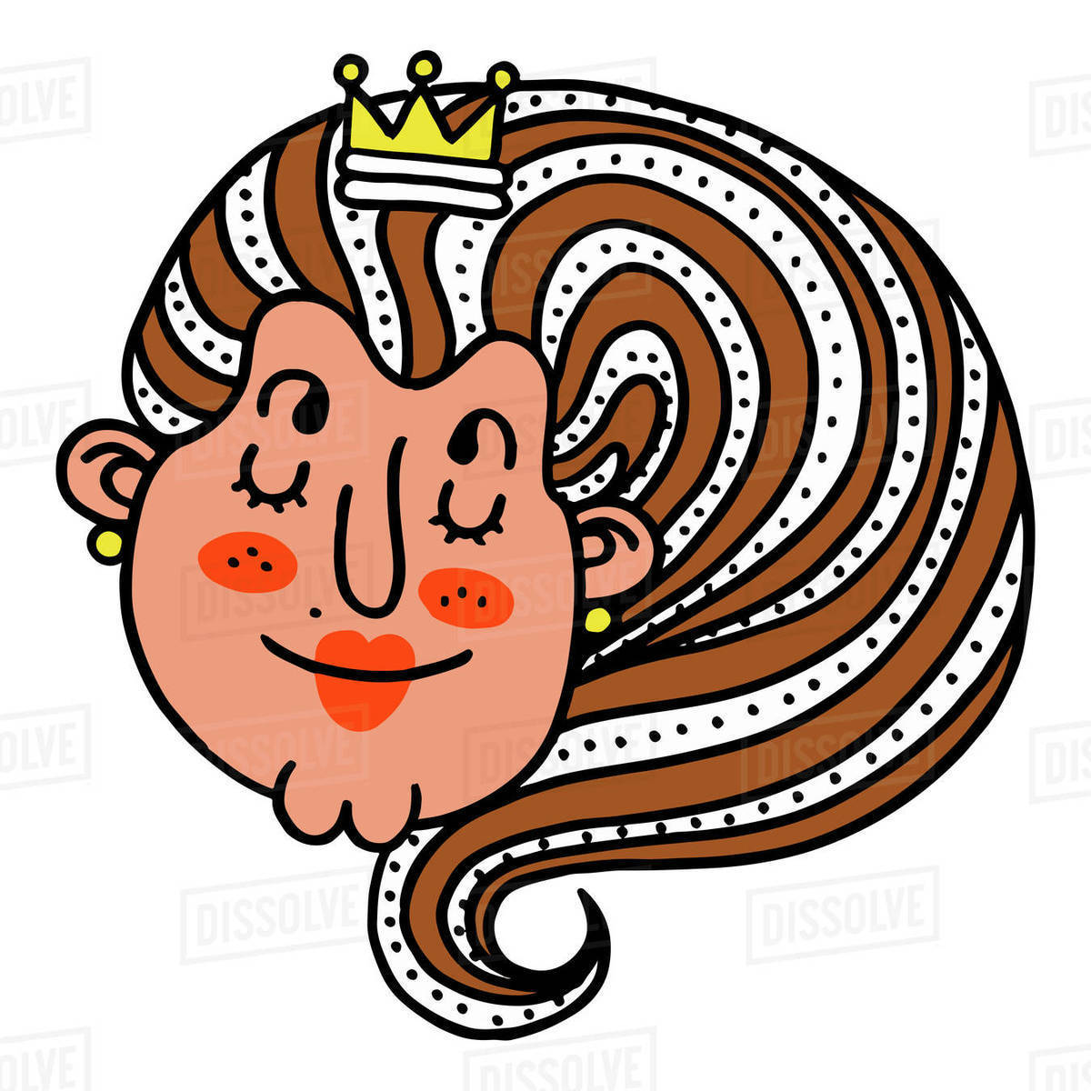 Cartoon illustration of queen against white background Royalty-free stock photo