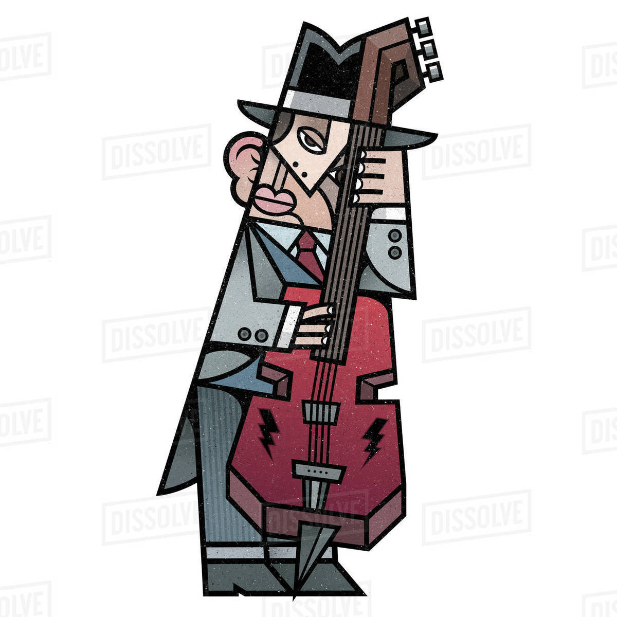 Cartoon illustration of a bassist playing double bass against white background Royalty-free stock photo