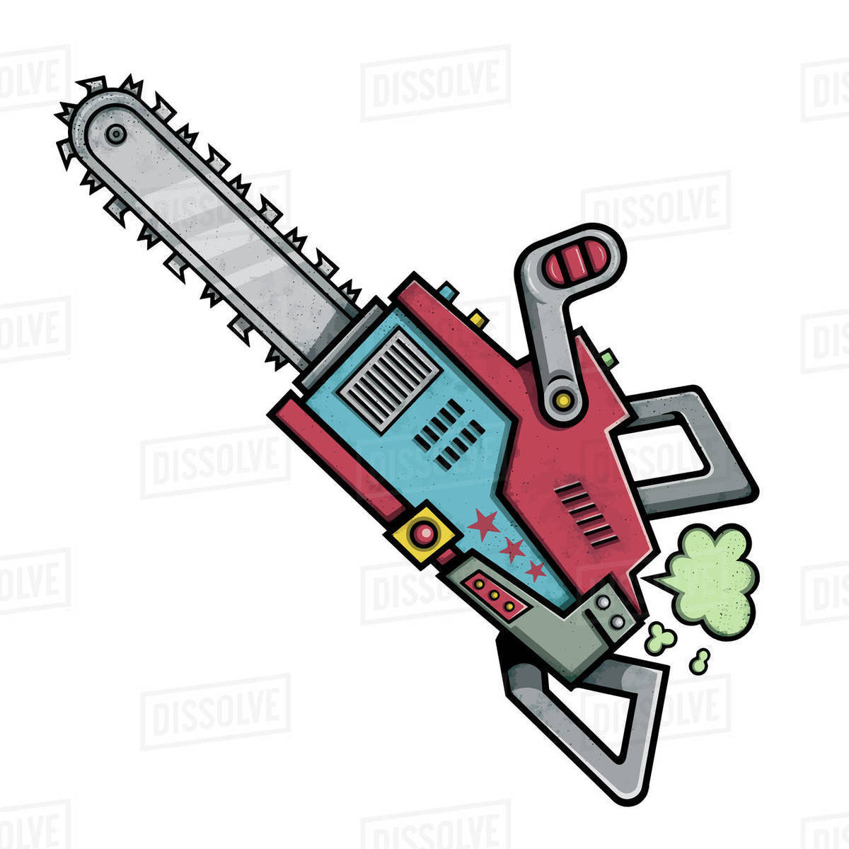 Illustration of chainsaw isolated on white background Royalty-free stock photo