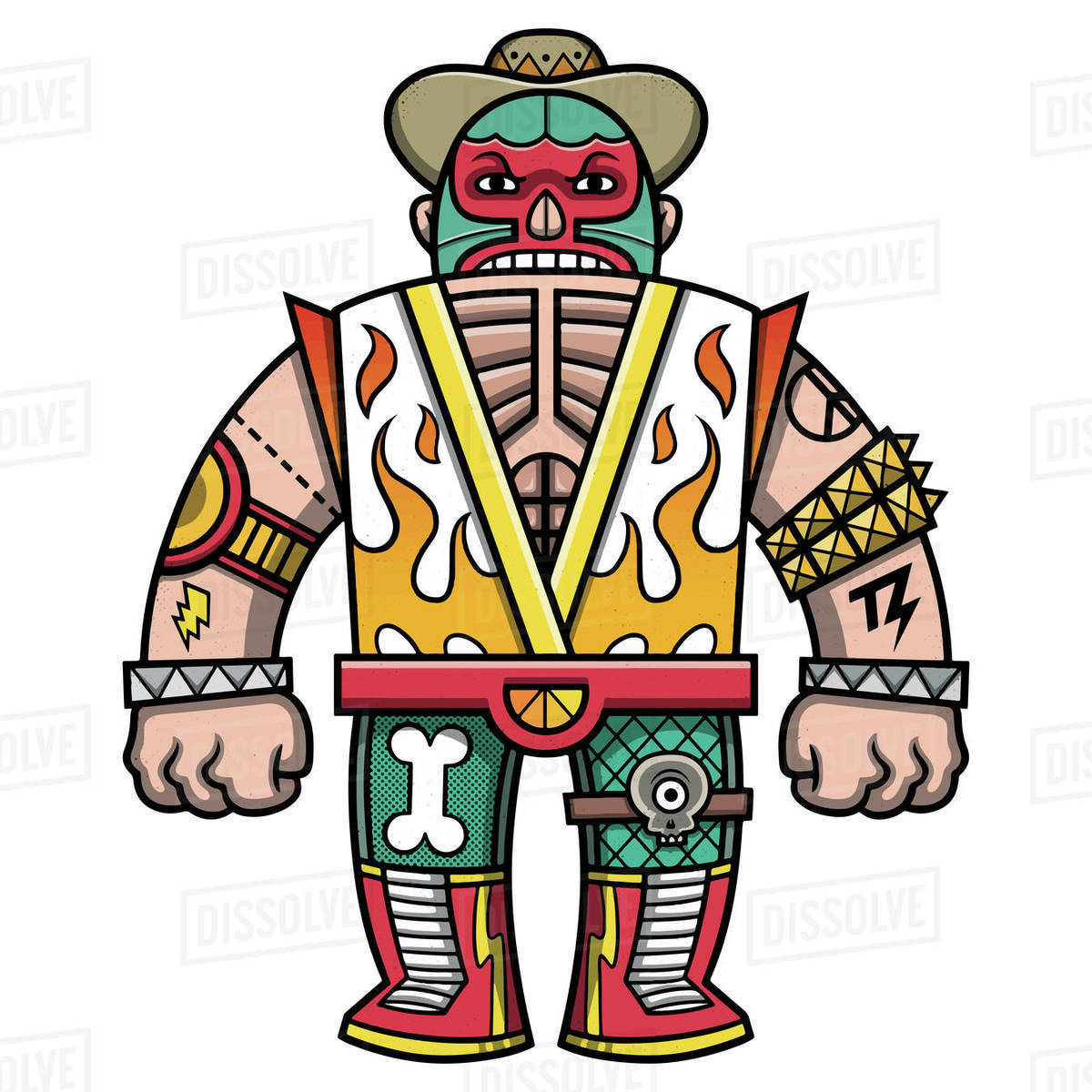 Cartoon illustration of Mexican wrestler isolated on white background Royalty-free stock photo