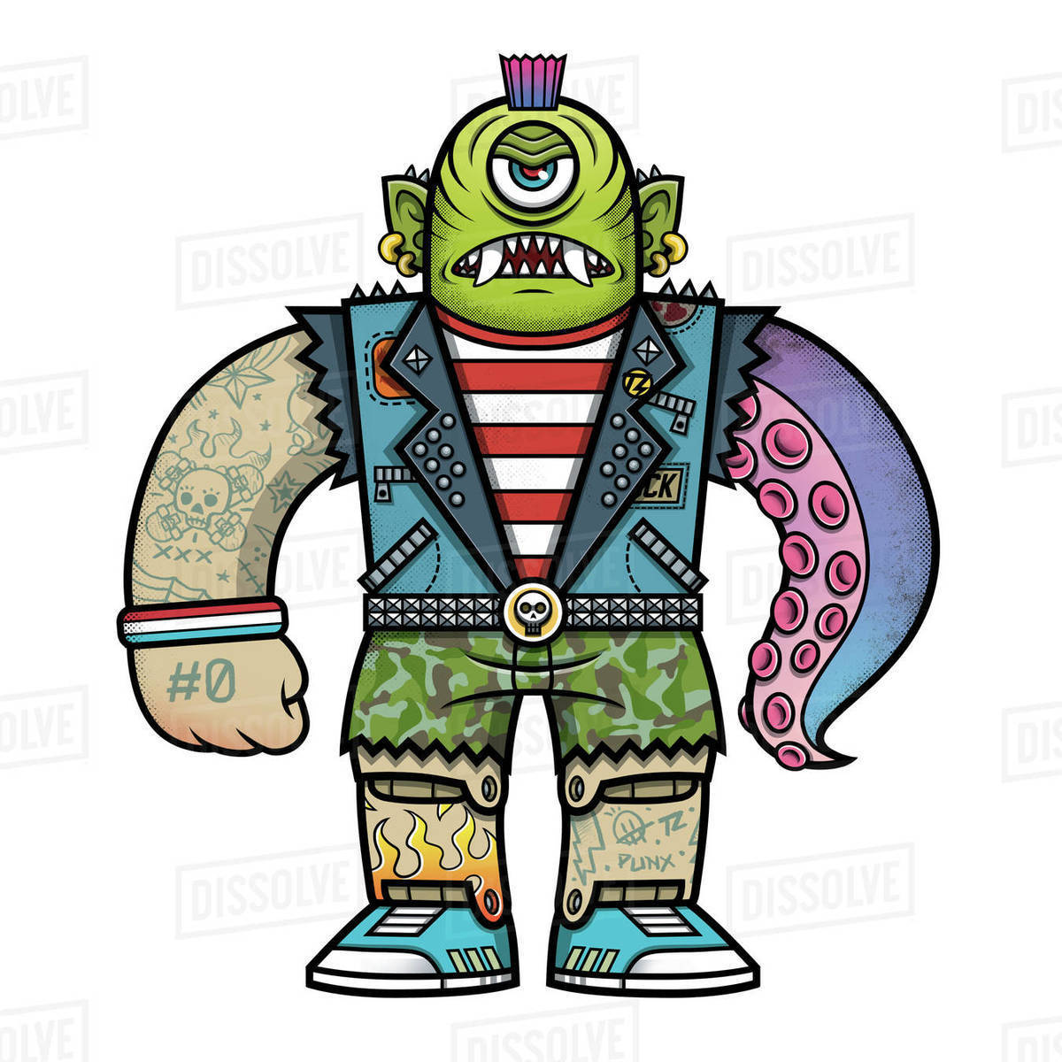 Cartoon illustration of rocker monster isolated on white background Royalty-free stock photo