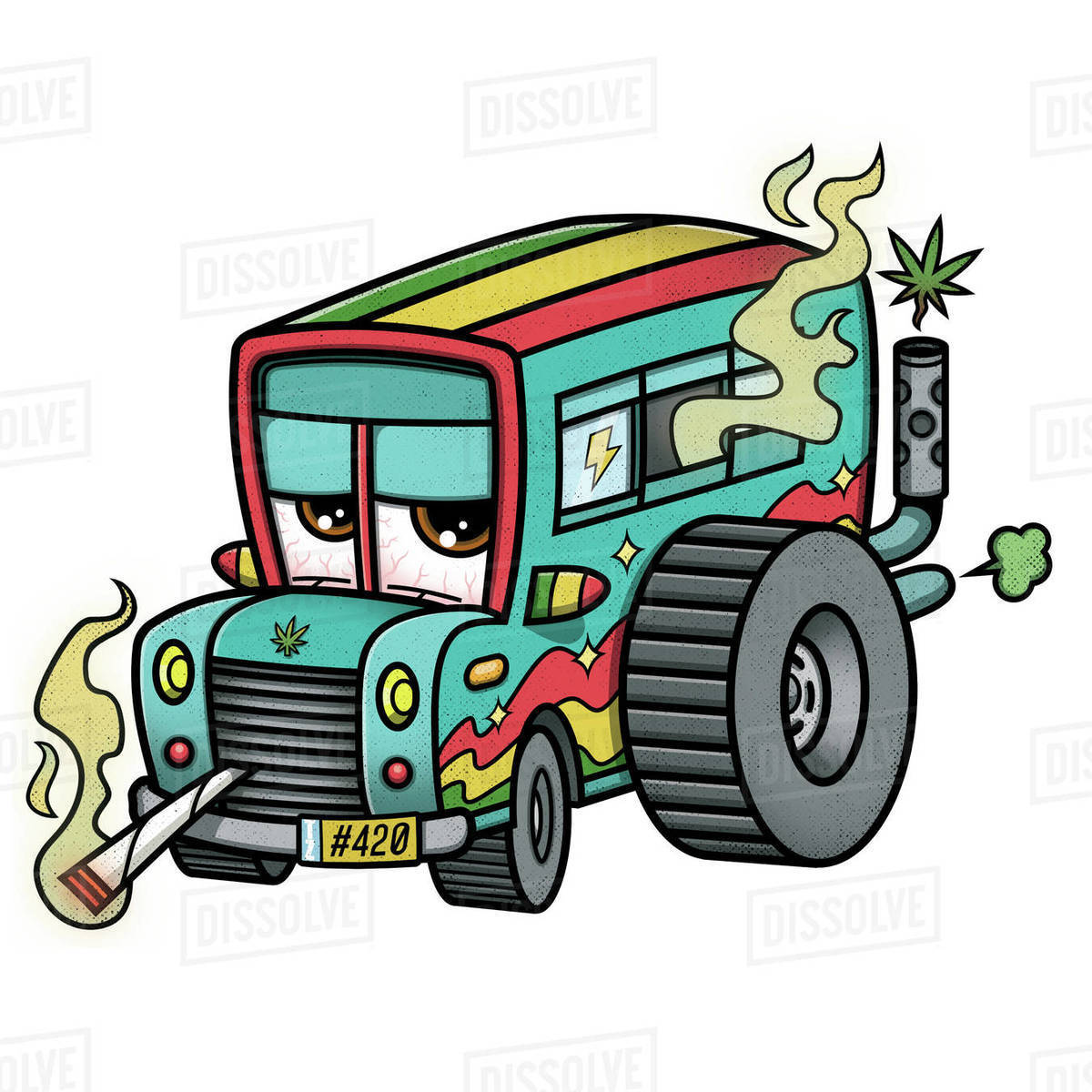 Cartoon illustration of school bus smoking cigarette against white background Royalty-free stock photo