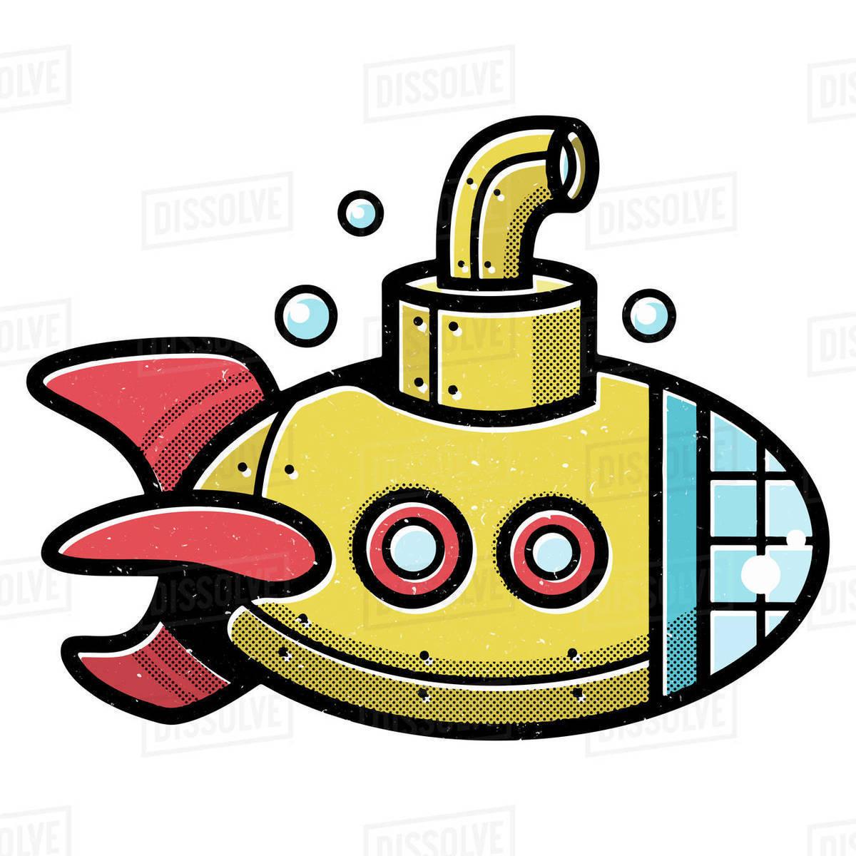 Illustration of submarine isolated on white background Royalty-free stock photo