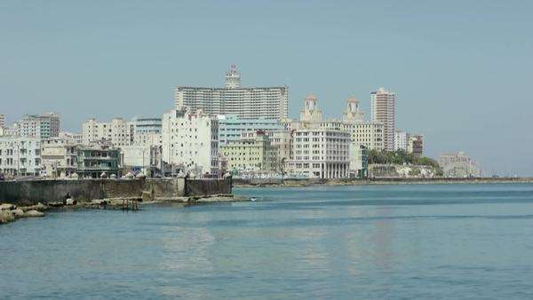 City view of Havana and Caribbean sea, Cuba Royalty-free stock video