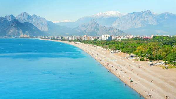 Timelapse of people activity on Konyaalti beach in Antalya, Turkey Royalty-free stock video