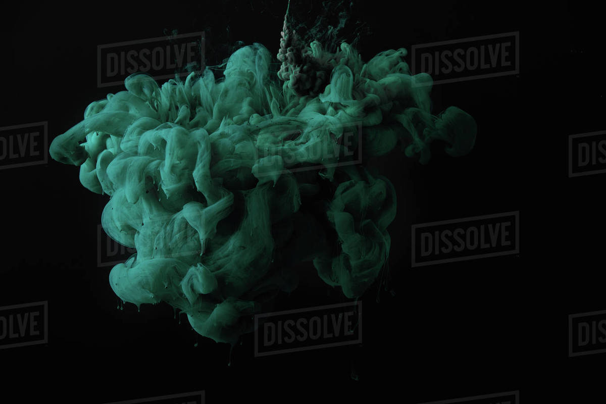 Abstract Dark Wallpaper With Green Splash Of Paint Stock Photo