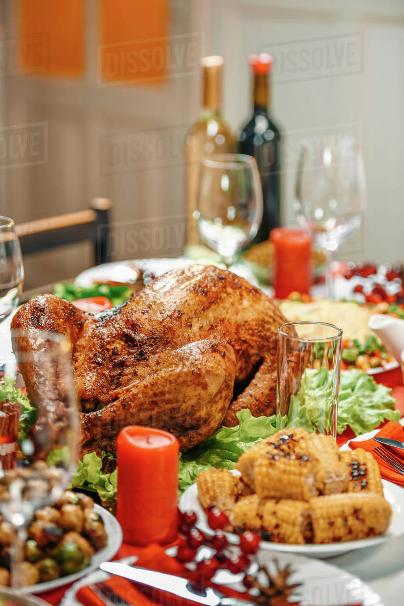 Christmas Meat Dishes.Served Table With Delicious Dishes For Christmas Dinner Stock Photo