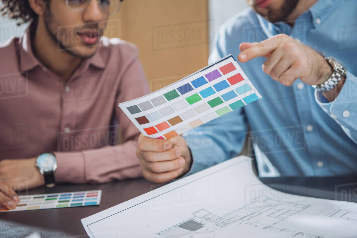 Cropped shot of designers choosing colors from palette for project Royalty-free stock photo