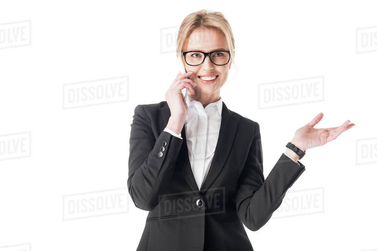 Blonde Businesswoman Talking On Smartphone Isolated On White Stock Photo