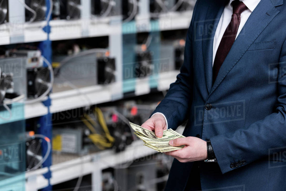 Cropped view of businessman counting cash at ethereum mining farm stock  photo