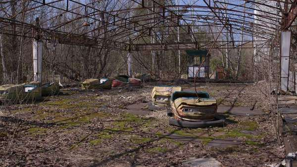 Long shot of abandoned bumper cars Rights-managed stock video