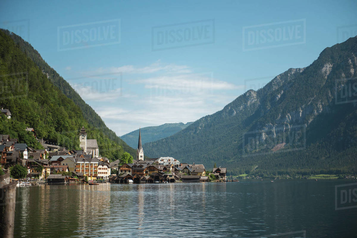 Hallstatt village and lake during sunny day, Obertraun, Gmunden, Austria Royalty-free stock photo