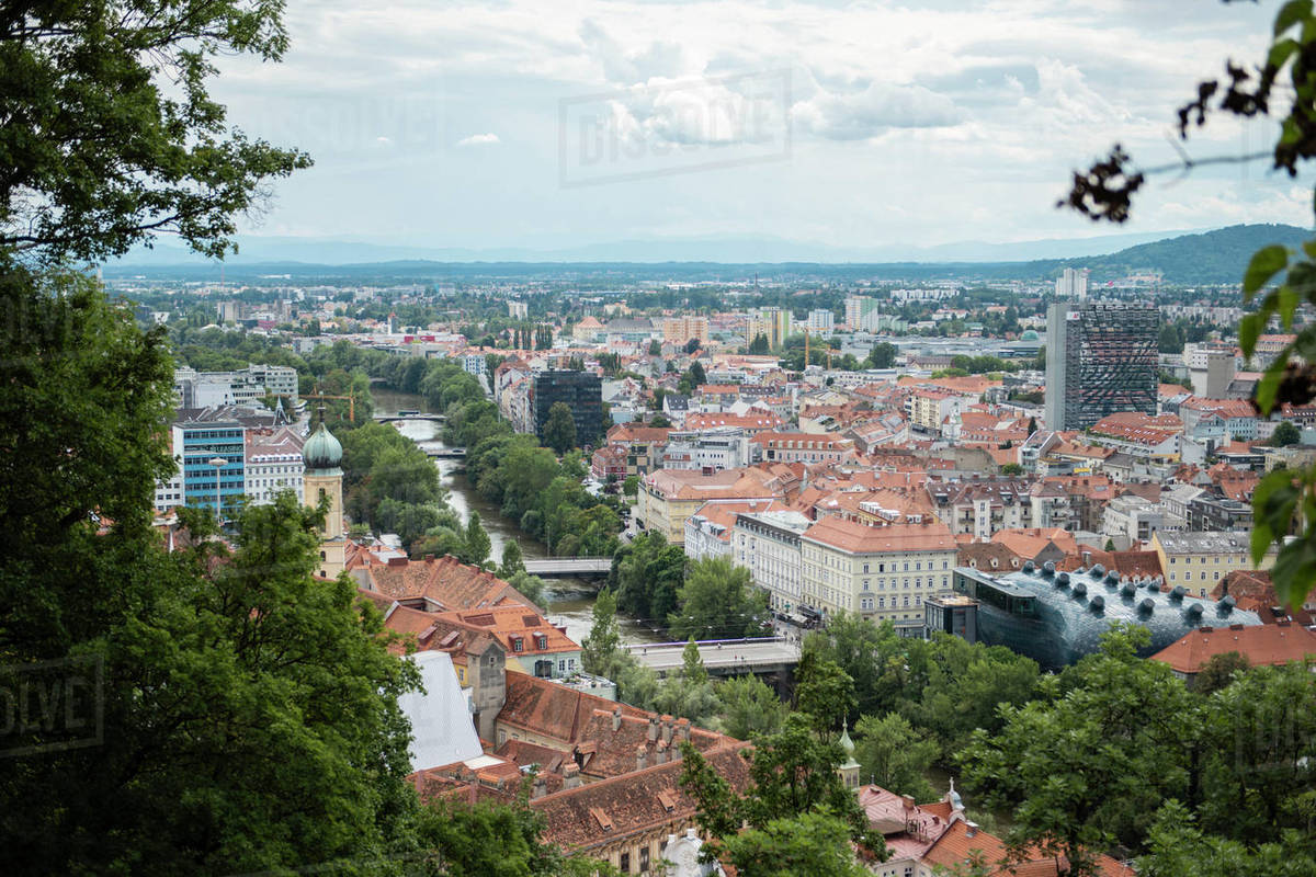 Landscape of the city Graz, Austria Royalty-free stock photo