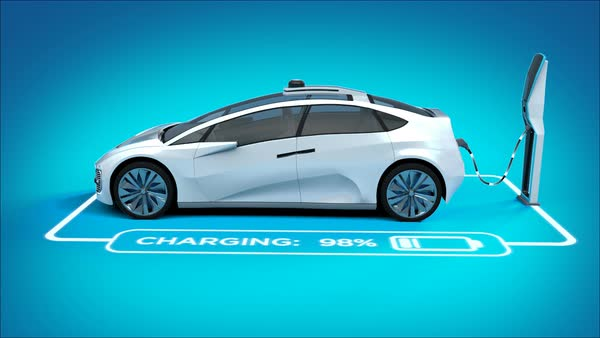 Animation of blue futuristic electric car blueprint concept car futuristic electric self driving car charging in charging station with graphics showing charging progress blue malvernweather Gallery