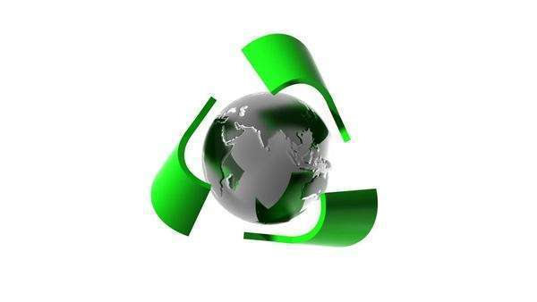 3D animated recycling symbol, seamless loop Royalty-free stock video