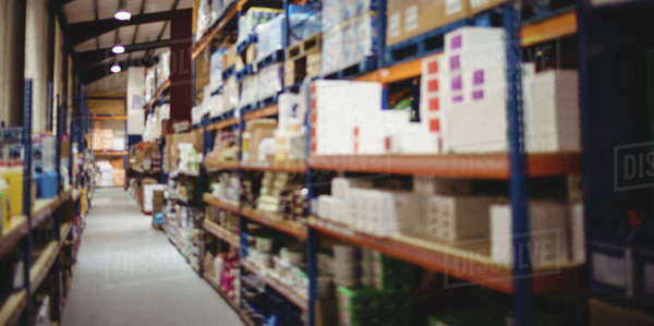 Warehouse aisle with no people Royalty-free stock photo