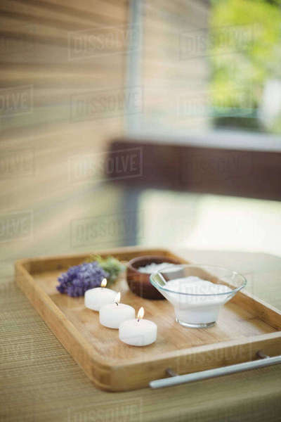 Tray of beauty therapy items at the health spa Royalty-free stock photo
