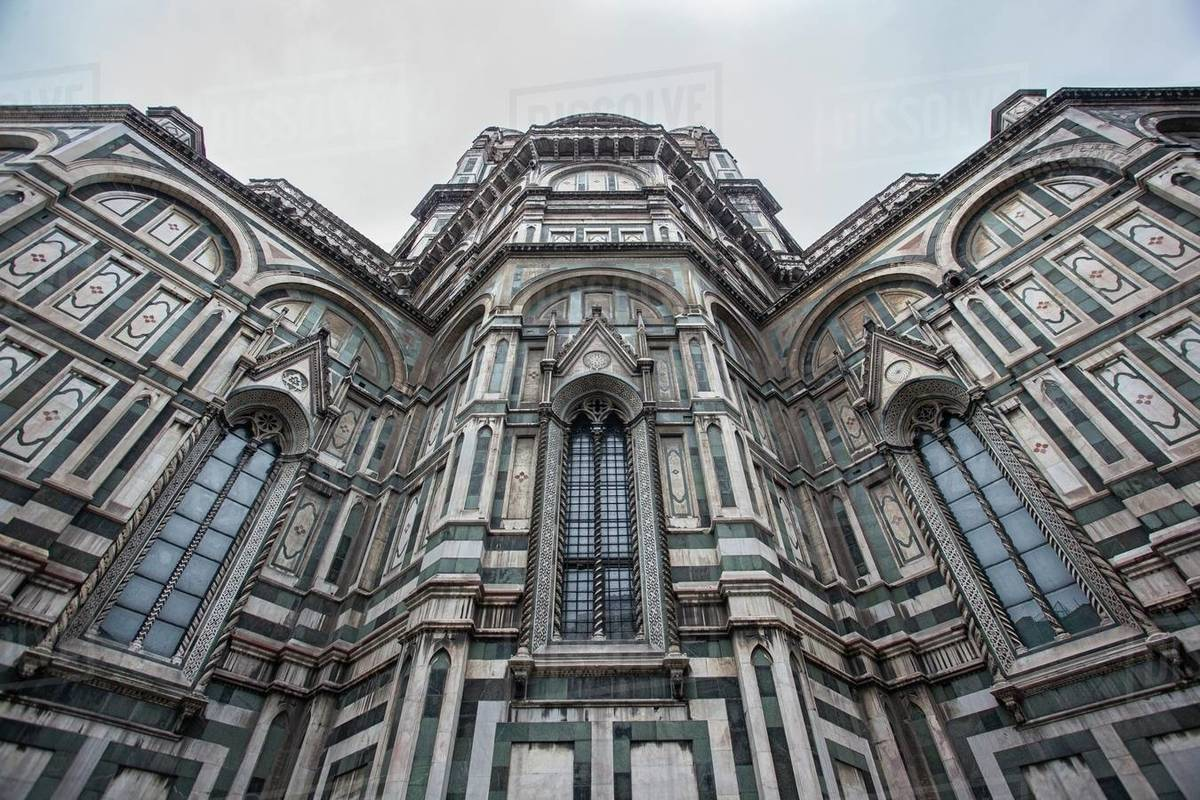 Detail of the Cathedral of Florence taken on a cloudy day with the light that enhances the colors Royalty-free stock photo