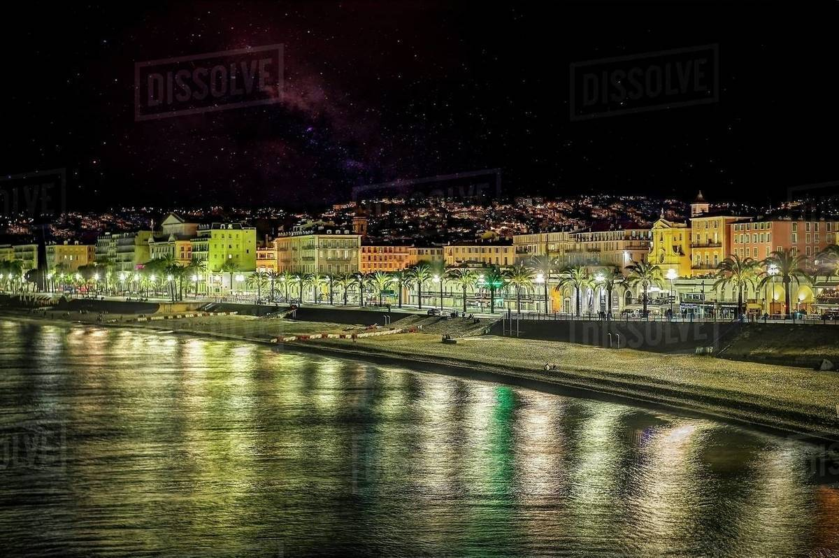Breathtaking view of Nice Beach at the promenade, in night vision. Royalty-free stock photo