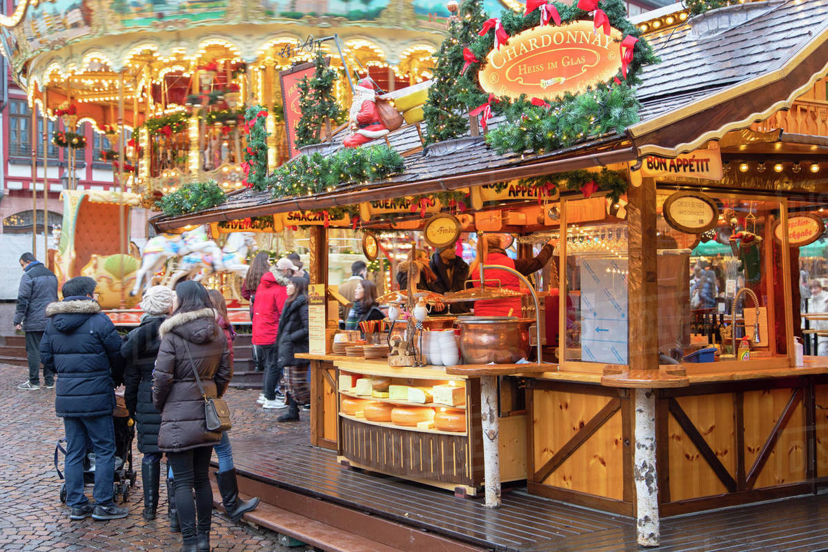 Food stall at Frankfurt Christmas Market, Frankfurt am Main, Hesse, Germany, Europe Royalty-free stock photo