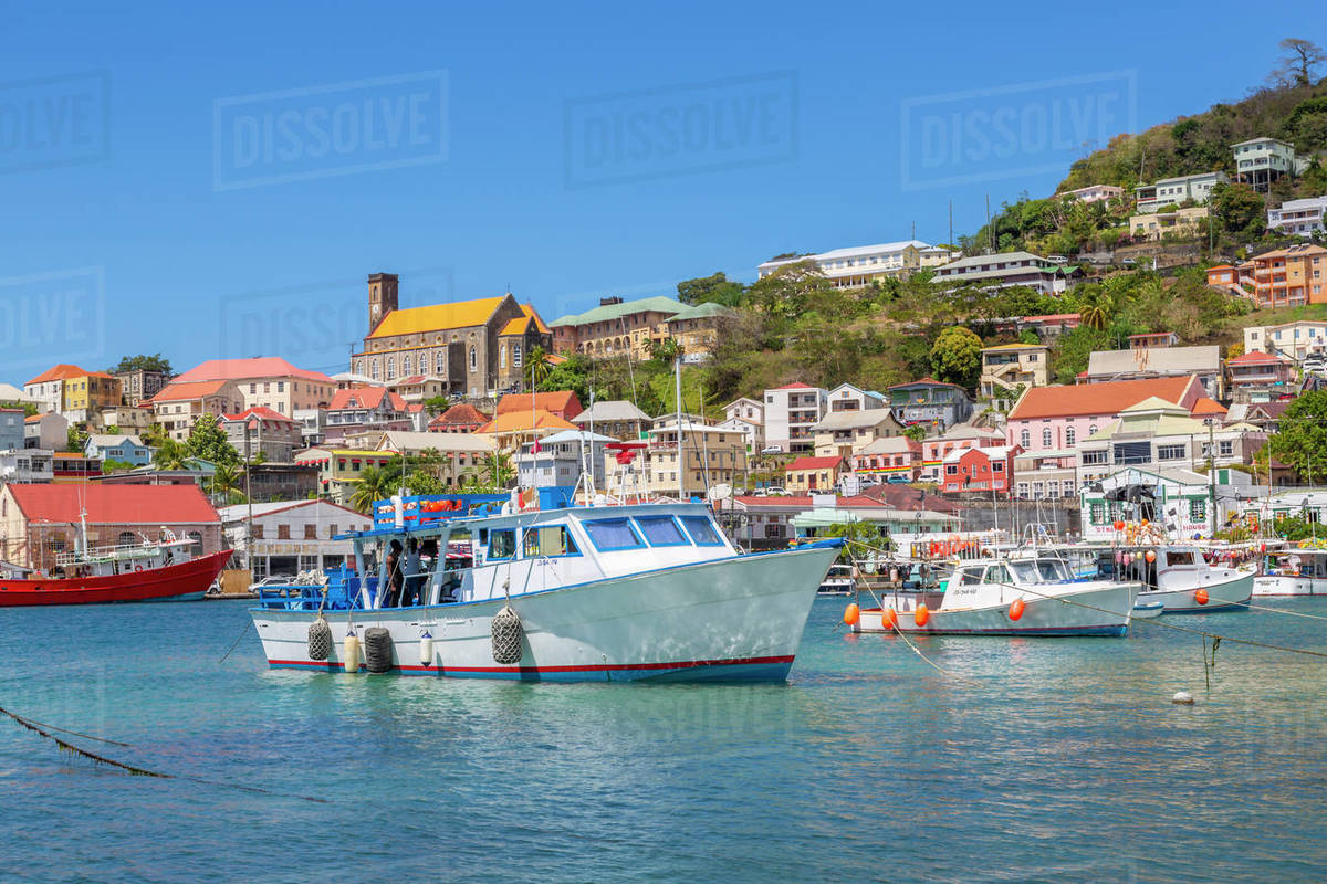 View over the Carenage of St. George's, Grenada, Windward Islands, West Indies, Caribbean, Central America Royalty-free stock photo