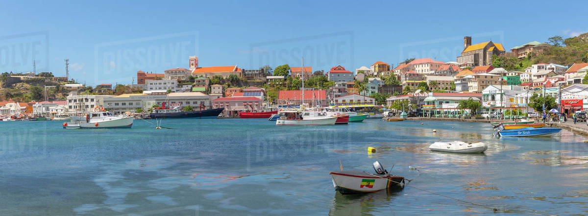 View over the Carenage and Cathedral, St. George's, Grenada, Windward Islands, West Indies, Caribbean, Central America Royalty-free stock photo