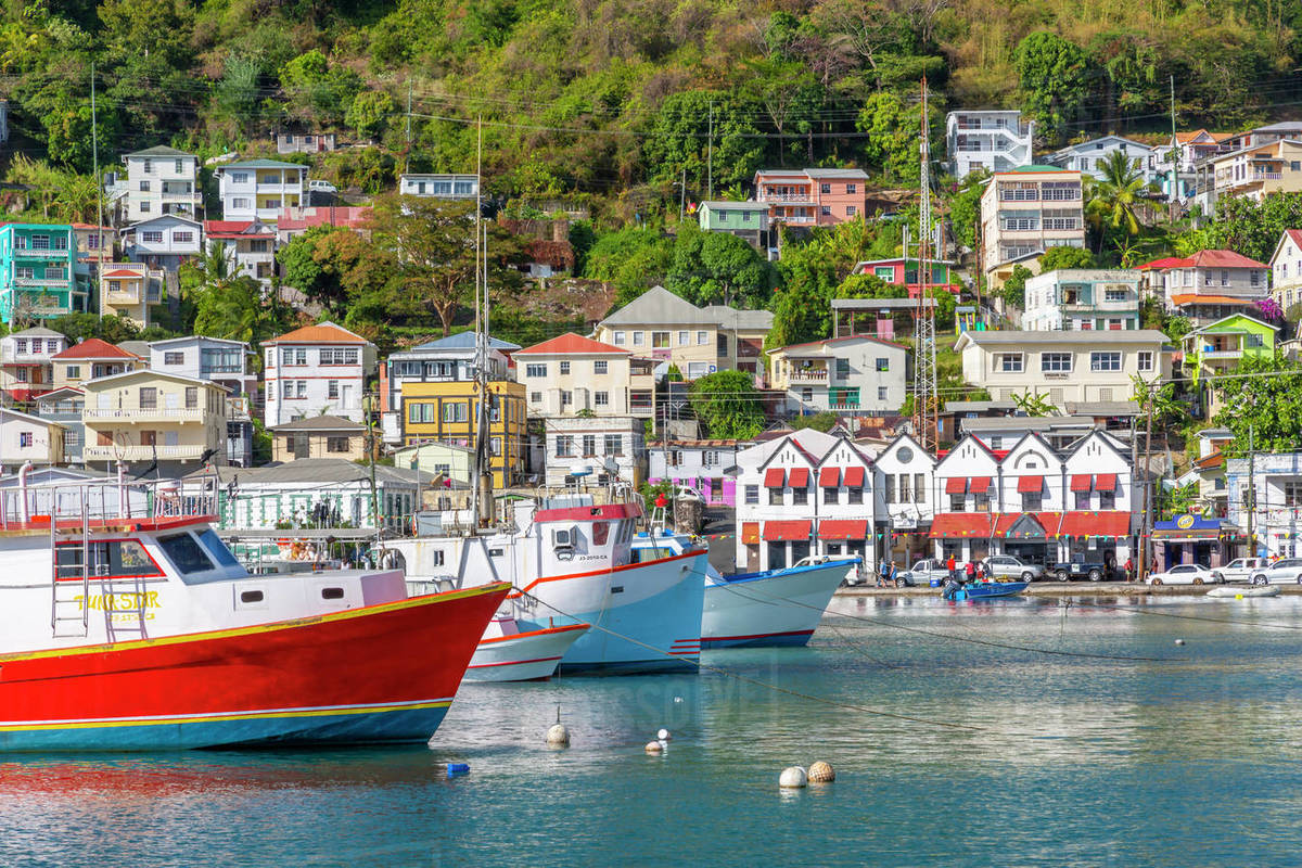 Colourful boats and houses on the Carenage of St. George's, Grenada, Windward Islands, West Indies, Caribbean, Central America Royalty-free stock photo
