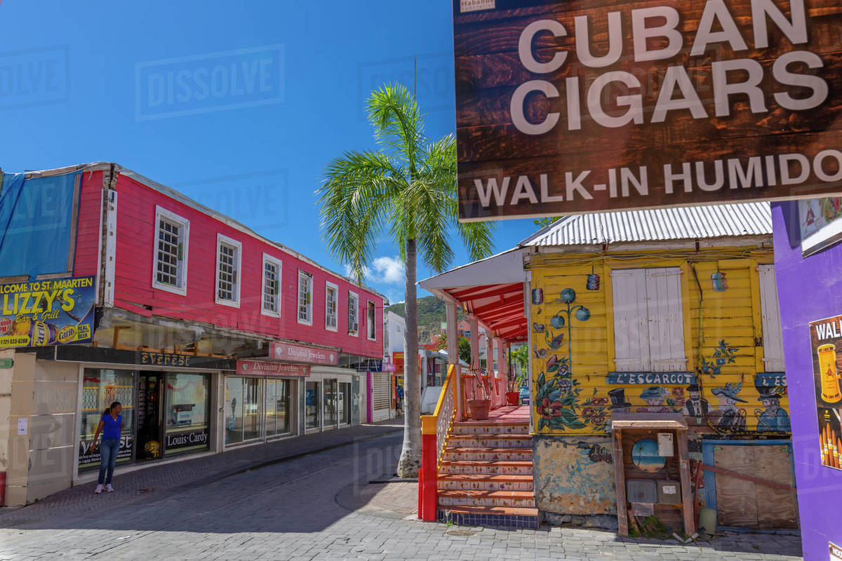 View of shops and buildings on Front Street, Philipsburg, St. Maarten, Leeward Islands, West Indies, Caribbean, Central America Royalty-free stock photo