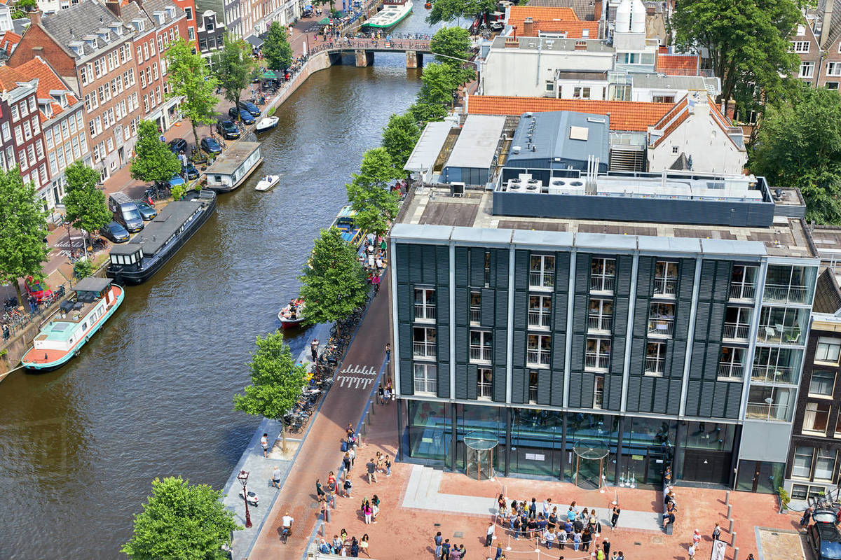 Aerial view of the Anne Frank House in Amsterdam, North Holland, The Netherlands, Europe Royalty-free stock photo