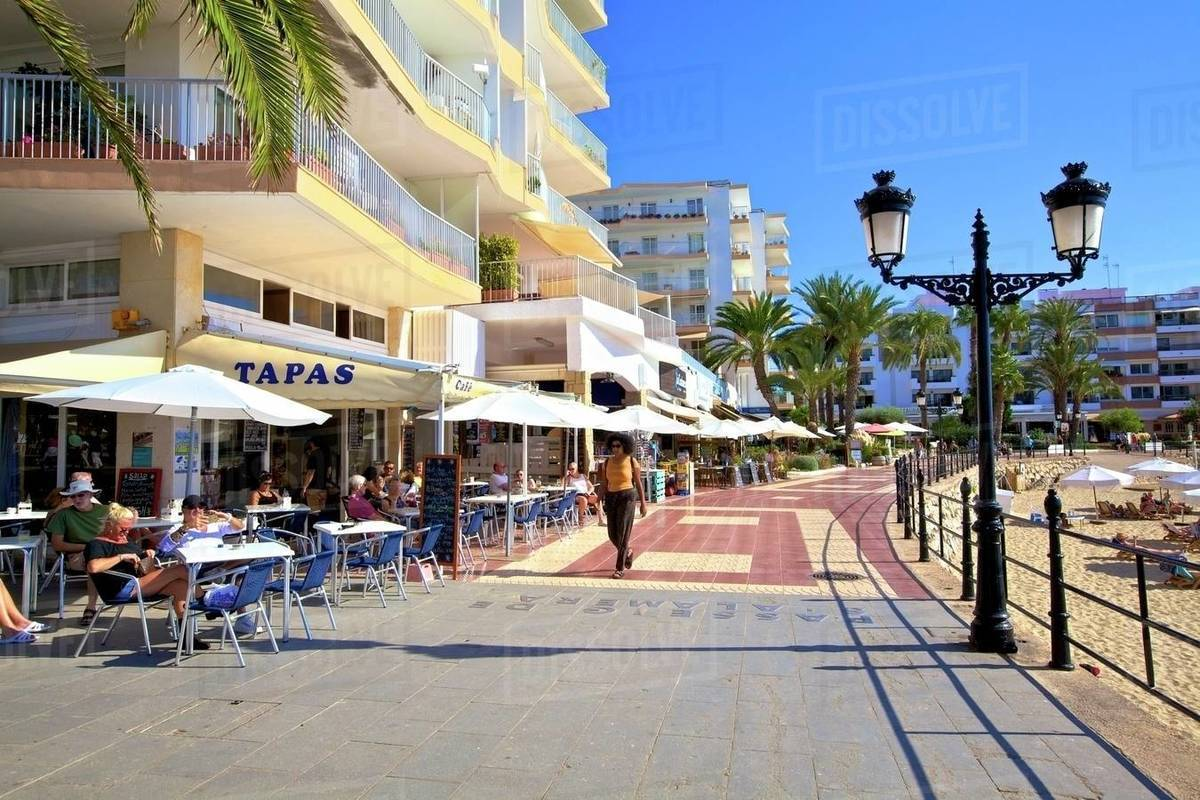 Seafront at Santa Eularia des Riu, Ibiza, Balearic Islands, Spain, Mediterranean, Europe Royalty-free stock photo