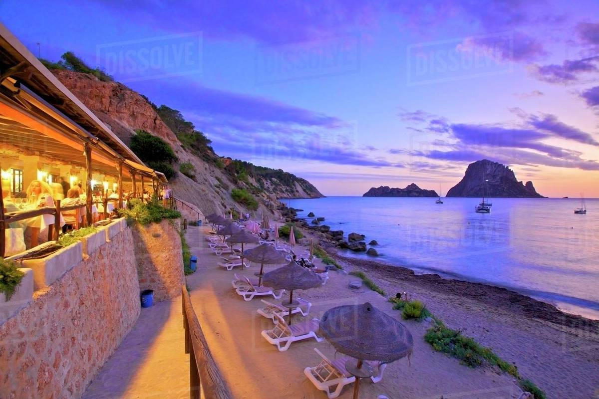 Restaurant at Cala d'Hort with The Island of Es Vedra in the Background, Ibiza, Balearic Islands, Spain, Mediterranean, Europe Royalty-free stock photo
