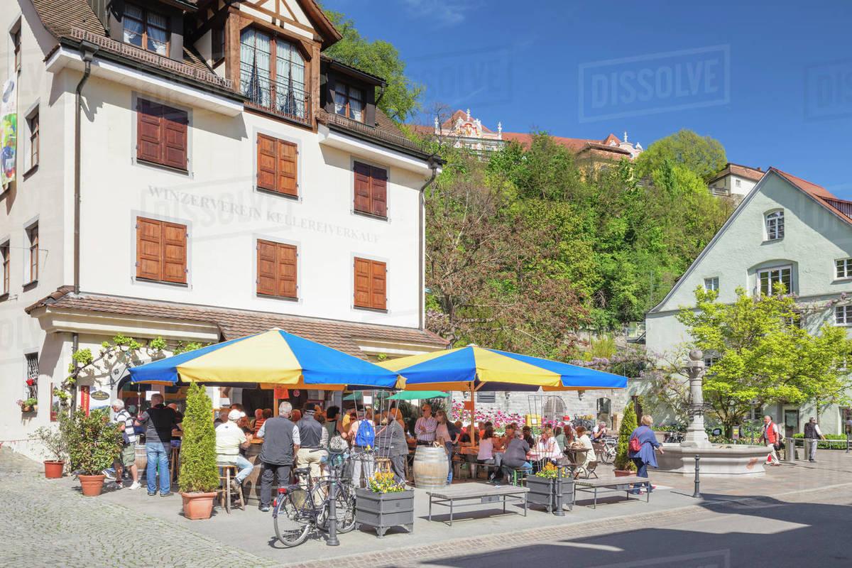 Wine grower restaurant, pedestrain area, Meersburg, Lake Constance, Baden-Wurttemberg, Germany, Europe Royalty-free stock photo