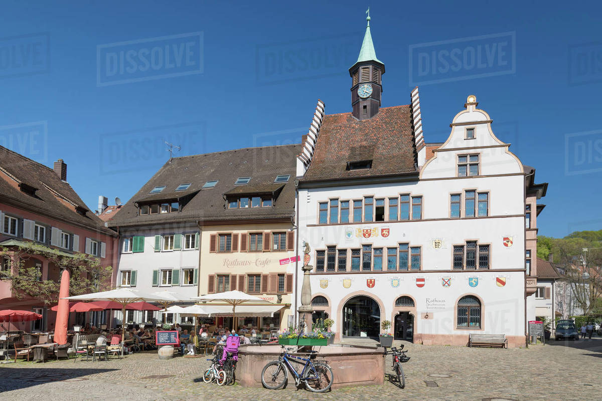 Town hall and marketplace, Staufen im Breisgau, Black Forest, Baden-Wurttemberg, Germany, Europe Royalty-free stock photo