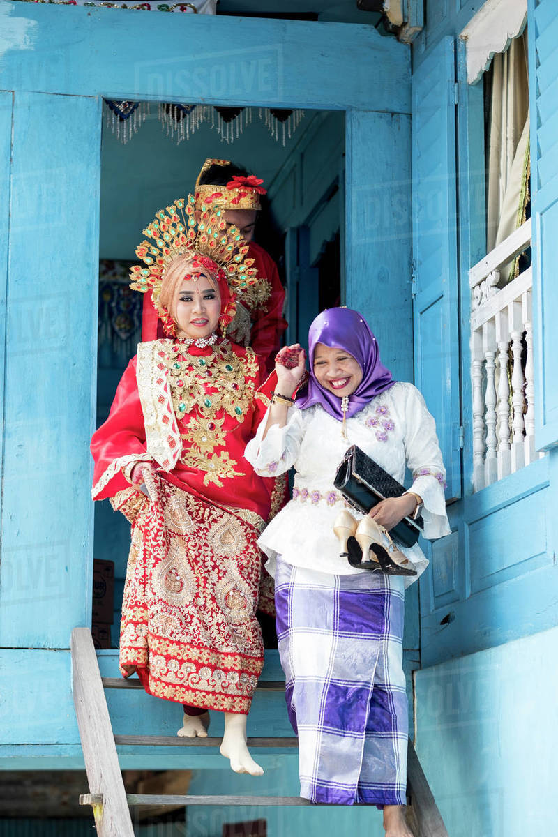 A bride at traditional Sulawesi wedding, Makassar, Sulawesi, Indonesia, Southeast Asia, Asia Royalty-free stock photo