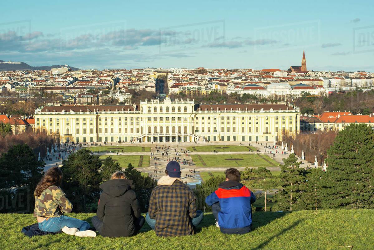 Vienna city skyline viewed from Schonbrunn Palace garden, UNESCO World Heritage Site, Vienna, Austria, Europe Royalty-free stock photo