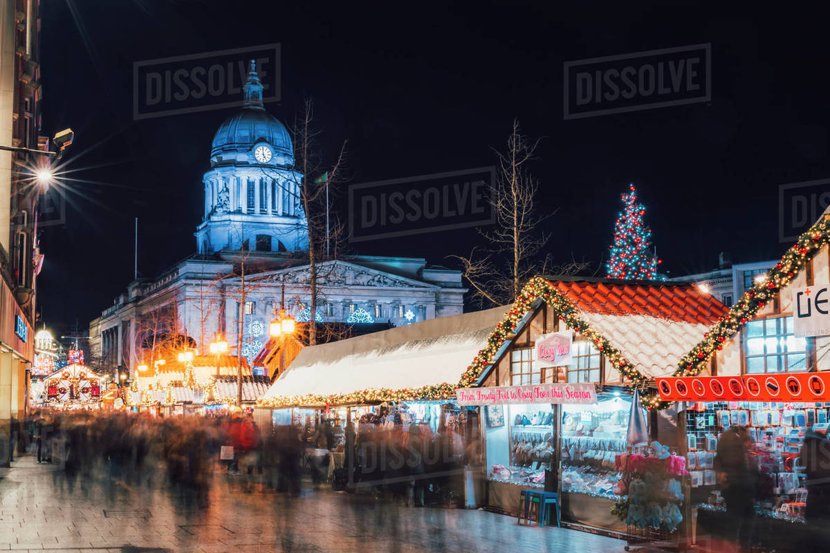 Christmas Market and City Council Building on Old Market Square at night, Nottingham, Nottinghamshire, England, United Kingdom, Europe Royalty-free stock photo