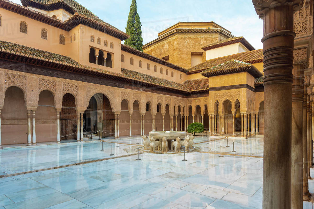 Court of the Lions, Alhambra, UNESCO World Heritage Site, Granada, Andalucia, Spain, Europe Royalty-free stock photo