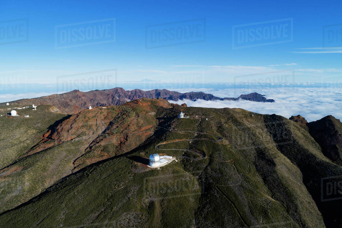 Aerial view of Telescope observatory, near Caldera de Taburiente National Park, UNESCO Biosphere Site, La Palma, Canary Islands, Spain, Atlantic, Europe Royalty-free stock photo