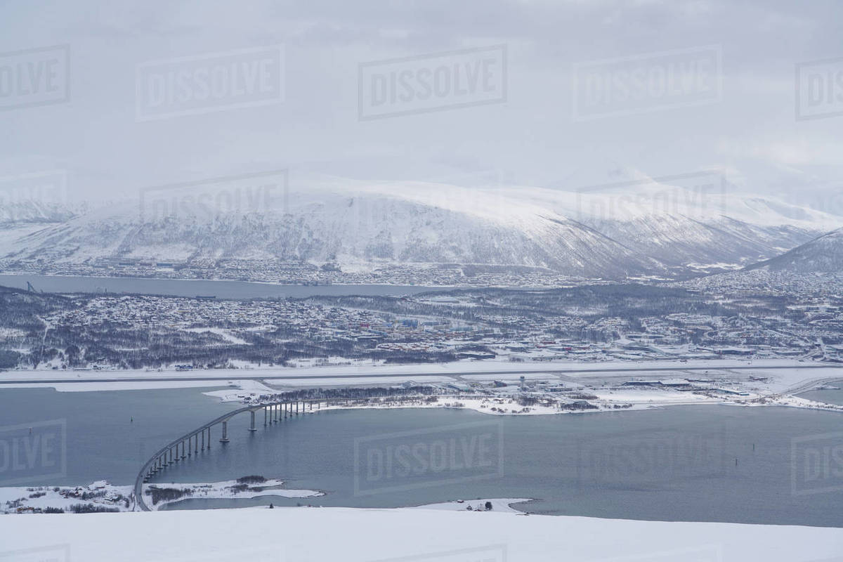 Tromso and its airport, Tromso, Troms County, Norway, Scandinavia, Europe Royalty-free stock photo
