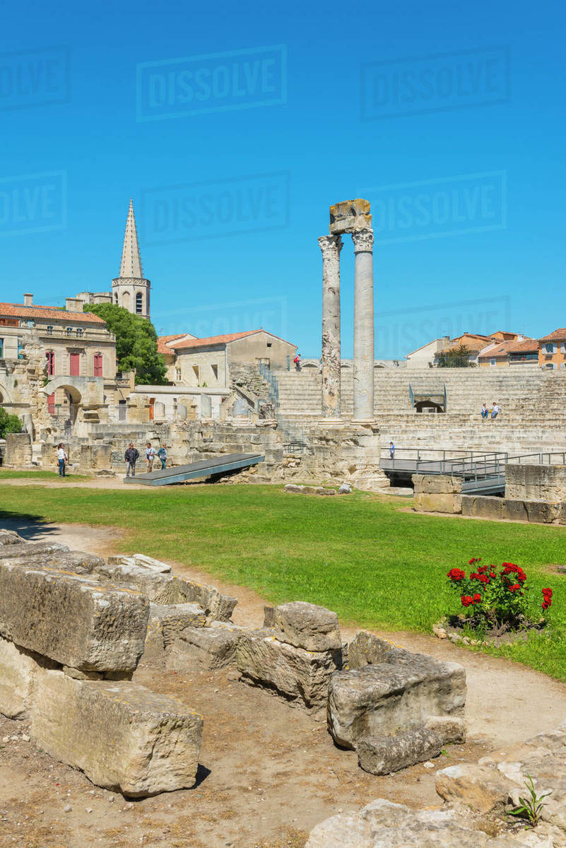 Arles Roman Ruins, Arles, UNESCO World Heritage Site, Bouches du Rhone, Provence, Provence-Alpes-Cote d'Azur, France, Europe Royalty-free stock photo