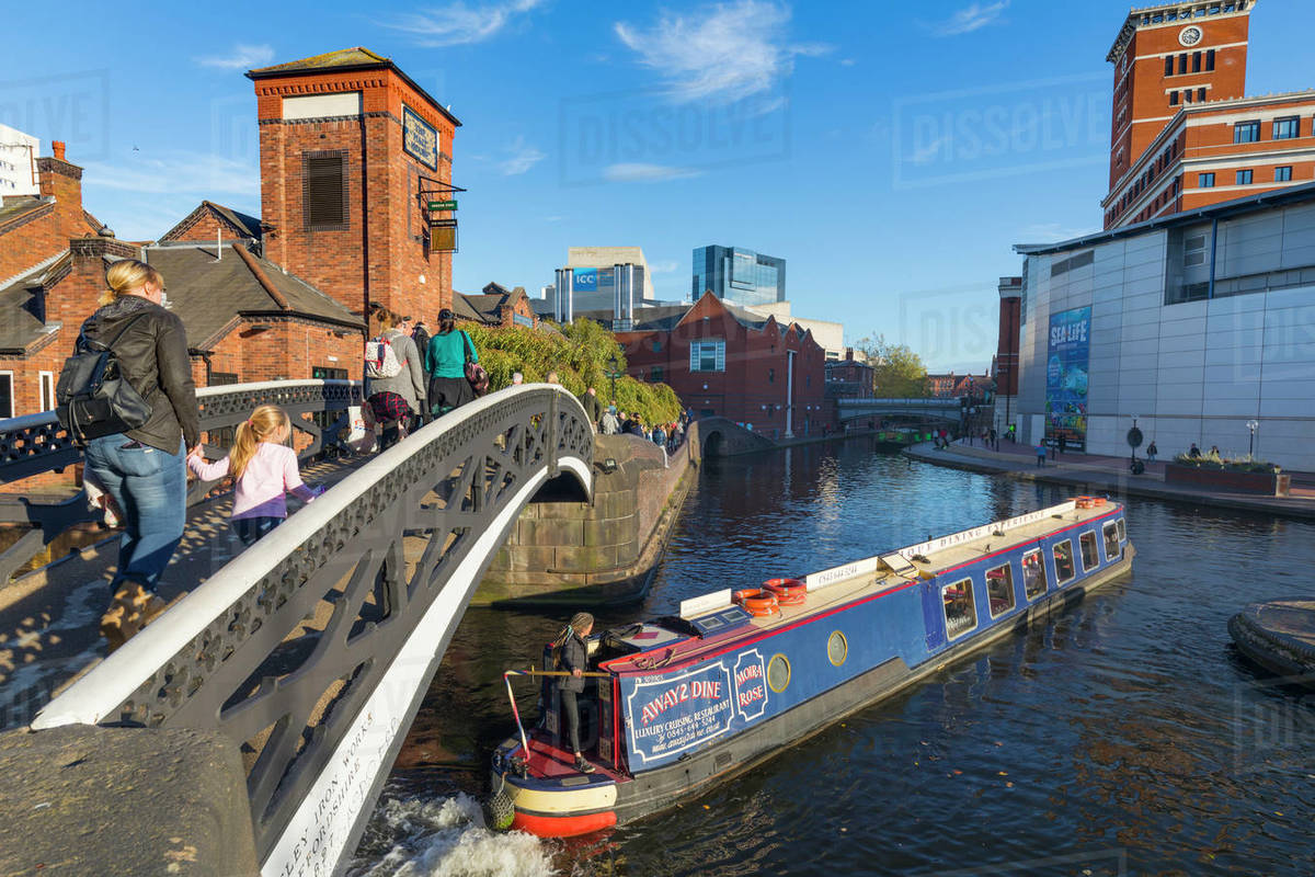 Canal boat, Birmingham Canal Old Line, Birmingham, England, United Kingdom, Europe Royalty-free stock photo