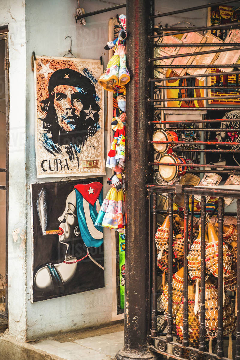 Souvenirs for sale in a market in La Habana (Havana), Cuba, West Indies, Caribbean, Central America Royalty-free stock photo