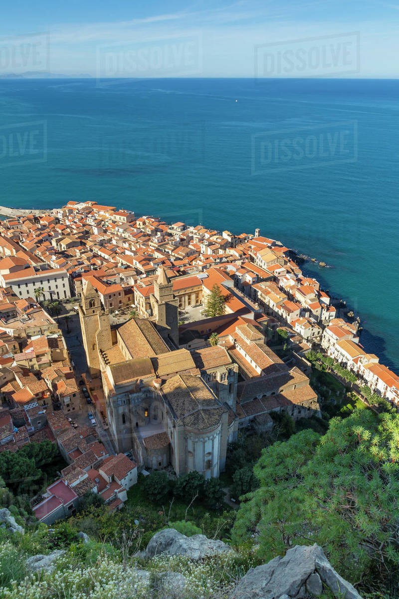 View from Rocca di Cefalu down to the old town and the Cathedral, UNESCO World Heritage Site, Cefalu, Sicily, Italy, Mediterranean, Europe Royalty-free stock photo
